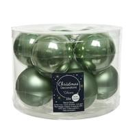 Kerstballen glas mat/glans d6cm saliegroen /10