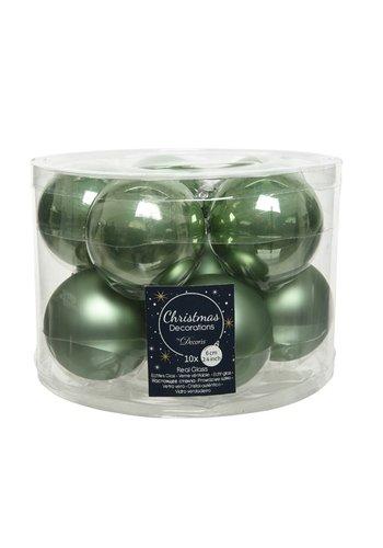 Decoris Kerstballen glas mat/glans d6cm saliegroen /10