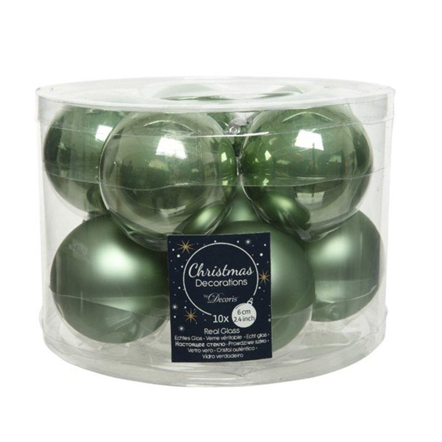 Kerstballen glas mat/glans d6cm saliegroen /10-1