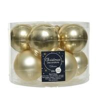 Kerstballen glas mat/glans d6cm champagne /10