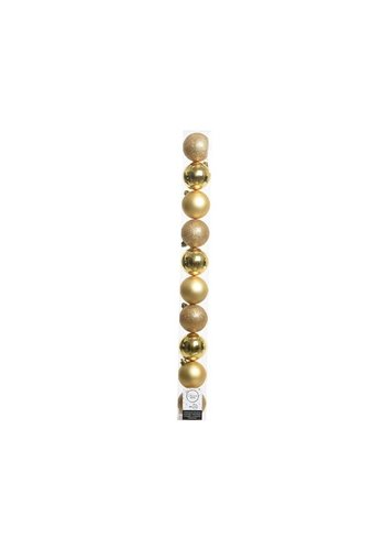 Decoris Kerstballen plastic/10  in koker dia 6cm licht goud