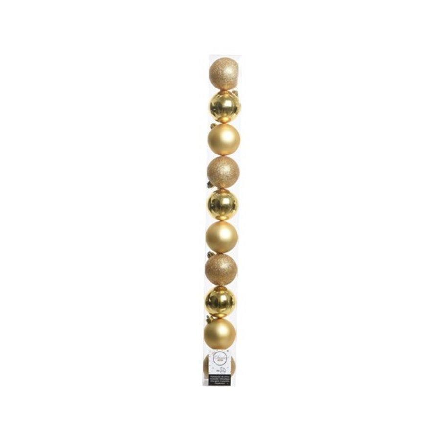 Kerstballen plastic /10 in koker dia 6cm licht goud-1