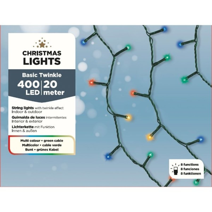 LED budget basic twinkle - green cable - Multicolour-1
