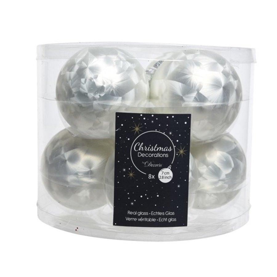 Kerstballen glas mat d7cm wit ijslak /8-1