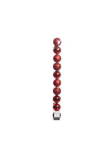 Decoris Kerstballen plastic /10 in koker dia 6cm kerstrood