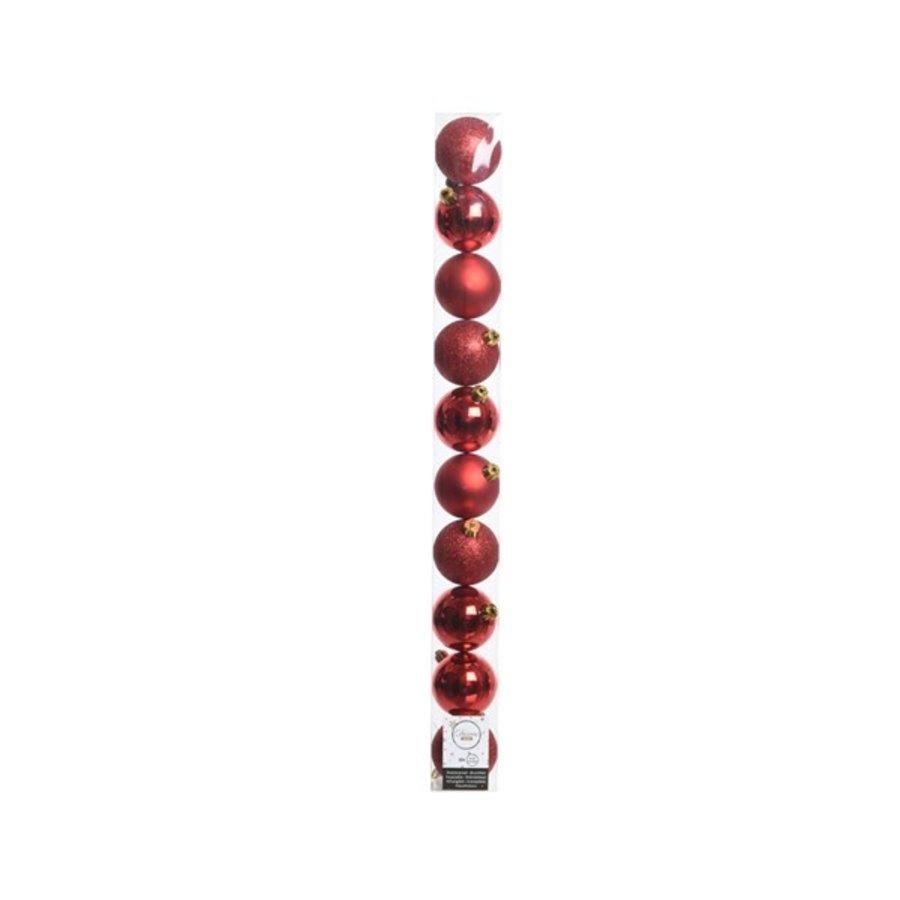 Kerstballen plastic /10 in koker dia 6cm kerstrood-1
