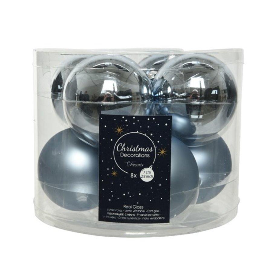 Kerstballen glas mat/glans d7cm winterlucht /8-1