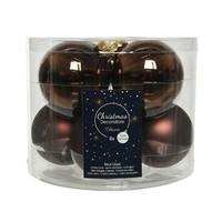 Kerstballen glas mat/glans d7cm donkerbruin /8