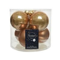 Kerstballen glas mat/glans d8cm camel bruin /6