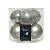 Kerstballen glas mat/glans d8cm mistig grijs /6