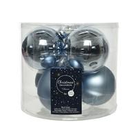 Kerstballen glas mat/glans d8cm winterlucht /6