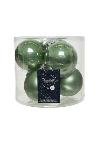 Decoris Kerstballen glas mat/glans d8cm saliegroen /6