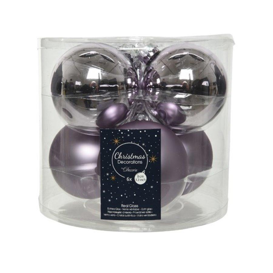 Kerstballen glas mat/glans d8cm lila /6-1