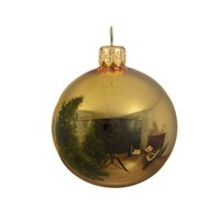 Kerstballen glas glans licht goud  dia8cm/6