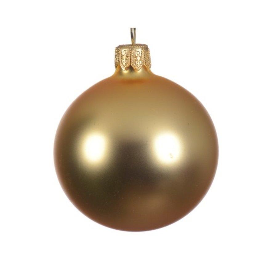 Kerstballen glas mat  licht goud dia 7cm/6-1
