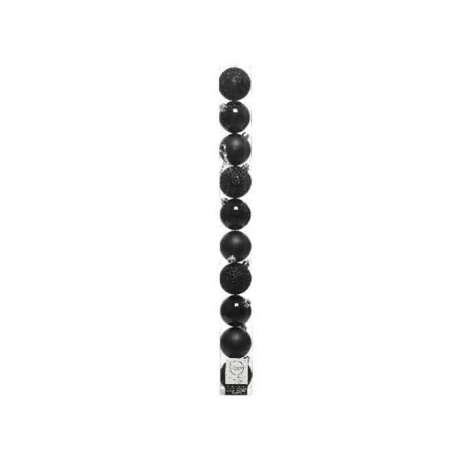 Kerstballen plastic /10 in koker dia 6cm zwart-1