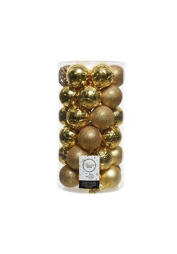 Decoris Kerstballen plastic/37 dia 6cm licht goud