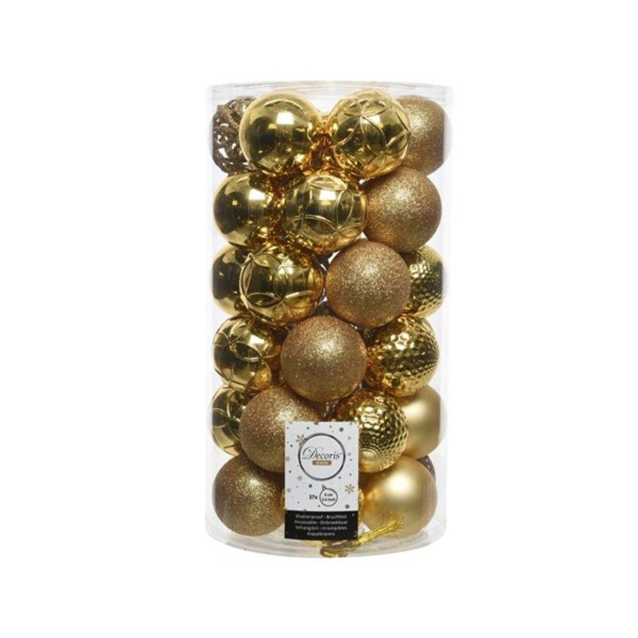 Kerstballen plastic/37 dia 6cm licht goud-1