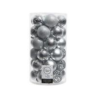 Kerstballen plastic/37 mix dia 6cm zilver