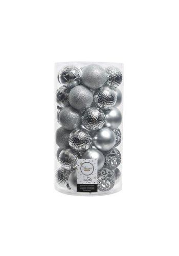 Decoris Kerstballen plastic/37 mix dia 6cm zilver