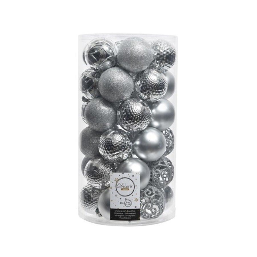 Kerstballen plastic/37 mix dia 6cm zilver-1