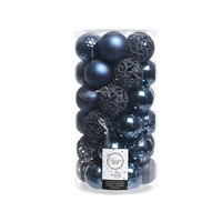 Kerstballen plastic/37 mix  dia 6cm night blue