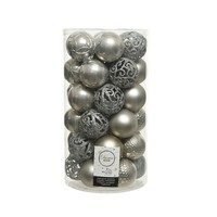 Kerstballen plastic /37 mix dia 6cm misty grey