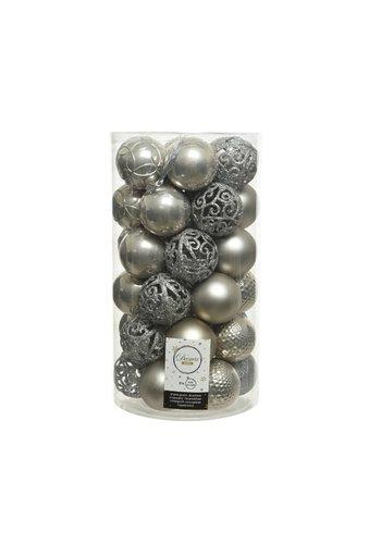 Decoris Kerstballen plastic /37 mix dia 6cm misty grey