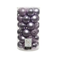 Kerstballen plastic /37 mix dia 6cm frosted lilac
