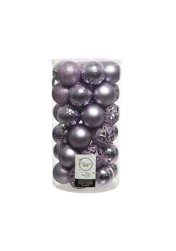 Decoris Kerstballen plastic /37 mix dia 6cm frosted lilac