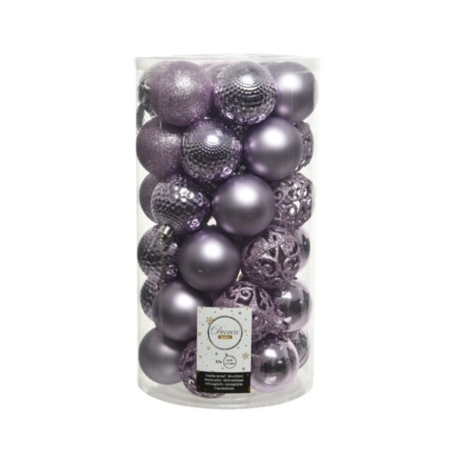 Kerstballen plastic /37 mix dia 6cm frosted lilac-1