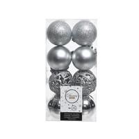 Kerstballen plastic/16 mix dia 6cm zilver