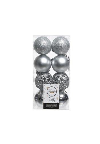 Decoris Kerstballen plastic/16 mix dia 6cm zilver