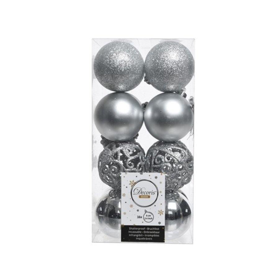 Kerstballen plastic/16 mix dia 6cm zilver-1