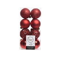 Kerstballen plastic/16 mix dia6 cm kerstrood