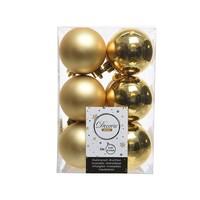 Kerstballen plastic/12 mix dia 6cm  licht goud
