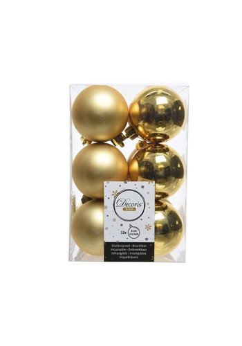 Decoris Kerstballen plastic/12 mix dia 6cm  licht goud