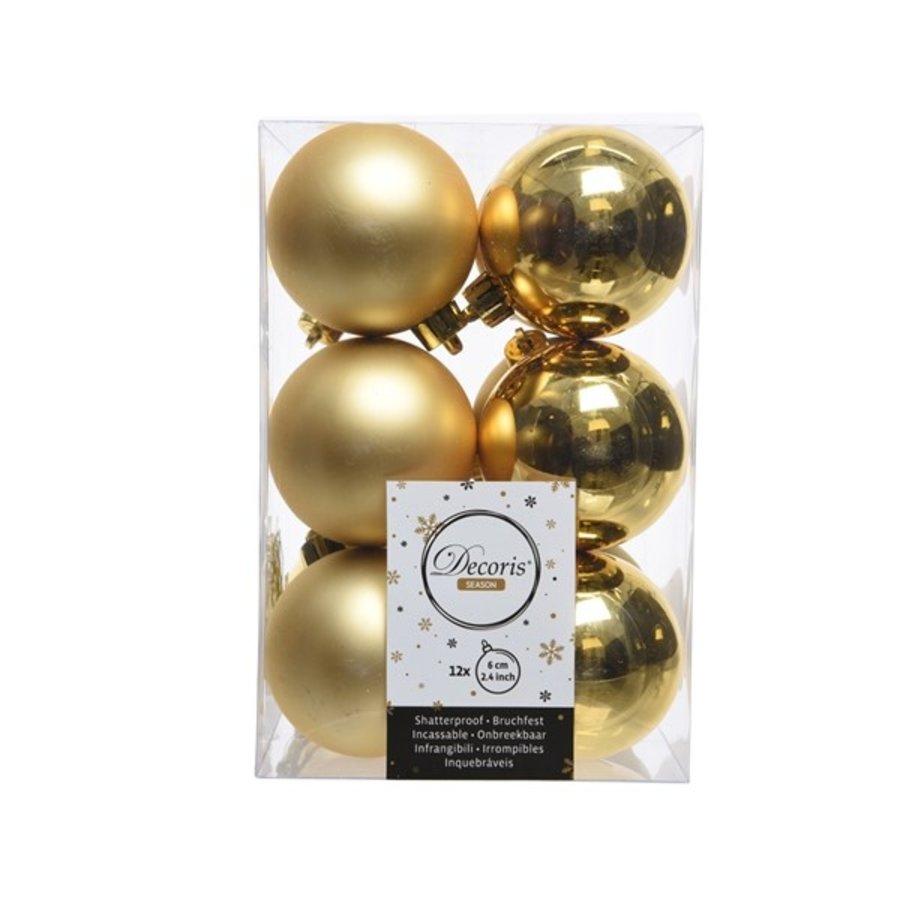 Kerstballen plastic/12 mix dia 6cm  licht goud-1
