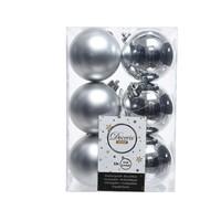 Kerstballen plastic /12 dia 6cm zilver