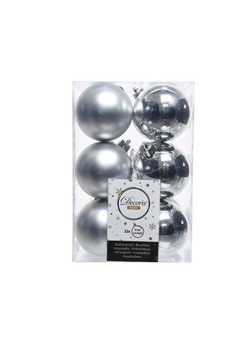 Decoris Kerstballen plastic /12 dia 6cm zilver
