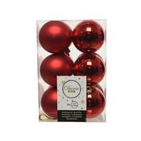 Kerstballen plastic/12  dia 6cm kerstrood