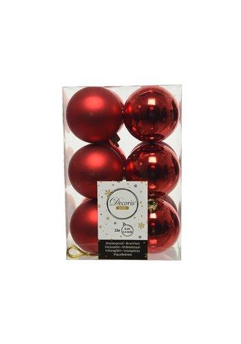 Decoris Kerstballen plastic/12  dia 6cm kerstrood