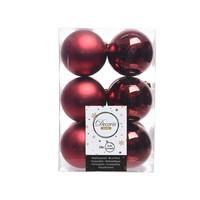 Kerstballen plastic/12 dia 6cm oxblood