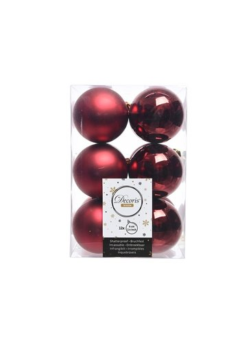 Decoris Kerstballen plastic/12 dia 6cm oxblood
