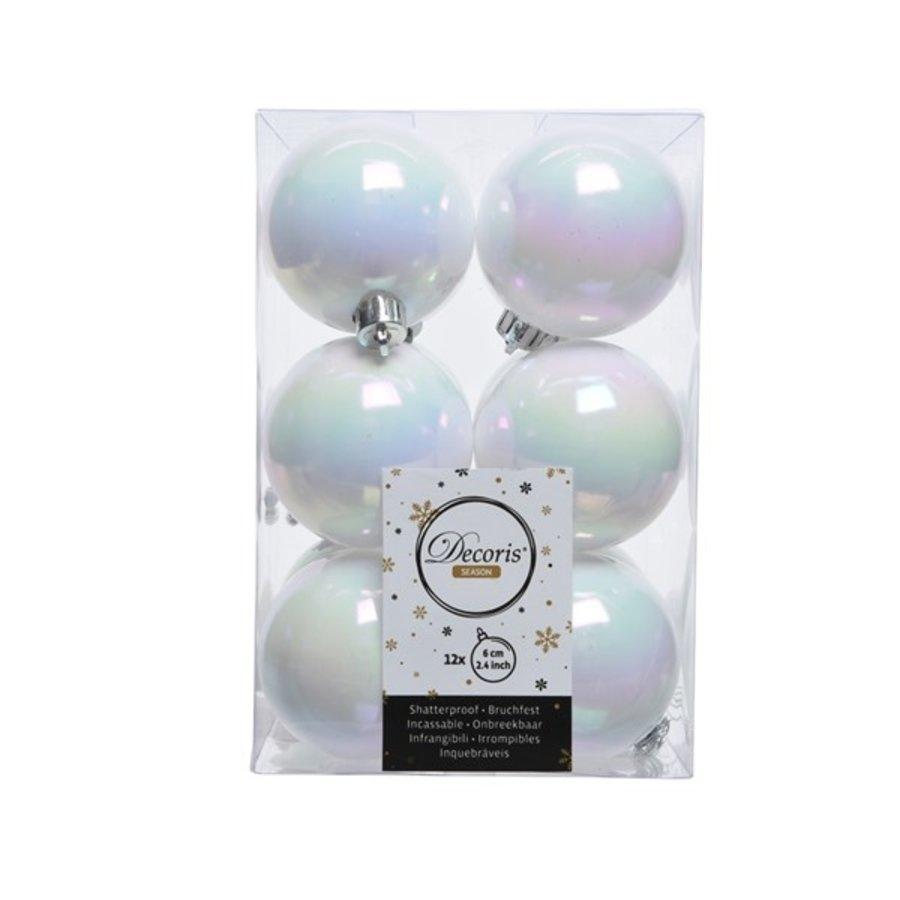 Kerstballen plastic/12    dia6cm wit/iris-1