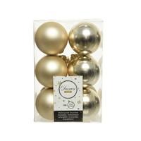 Kerstballen plastic/12 dia 6cm champagne