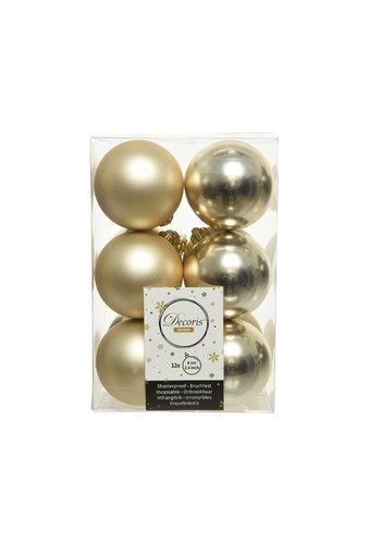 Decoris Kerstballen plastic/12 dia 6cm champagne