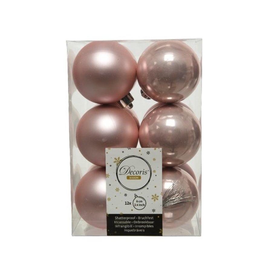 Kerstballen plastic/12 dia 6cm poederroze-1