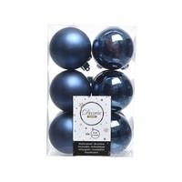 Kerstballen plastic/12 dia 6cm, nachtblauw