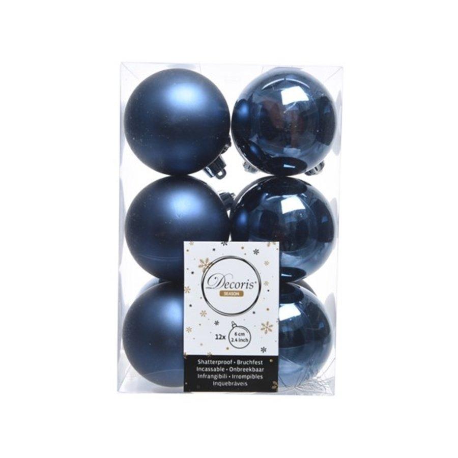 Kerstballen plastic/12 dia 6cm, nachtblauw-1
